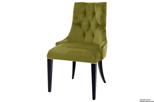 Magdalin Deep Buttoned Velvet Dining Chair  - Grass