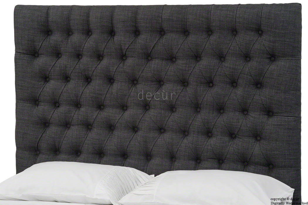 Kensington Buttoned Linen Headboard - Charcoal