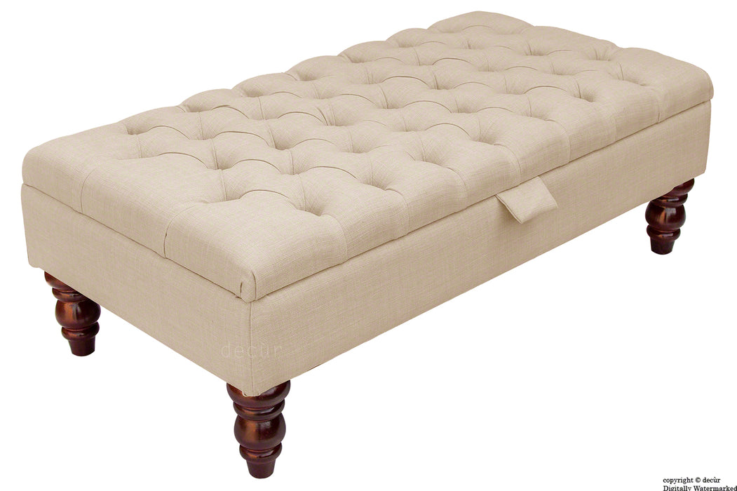 Tiffany Buttoned Linen Footstool - Sand with Optional Storage