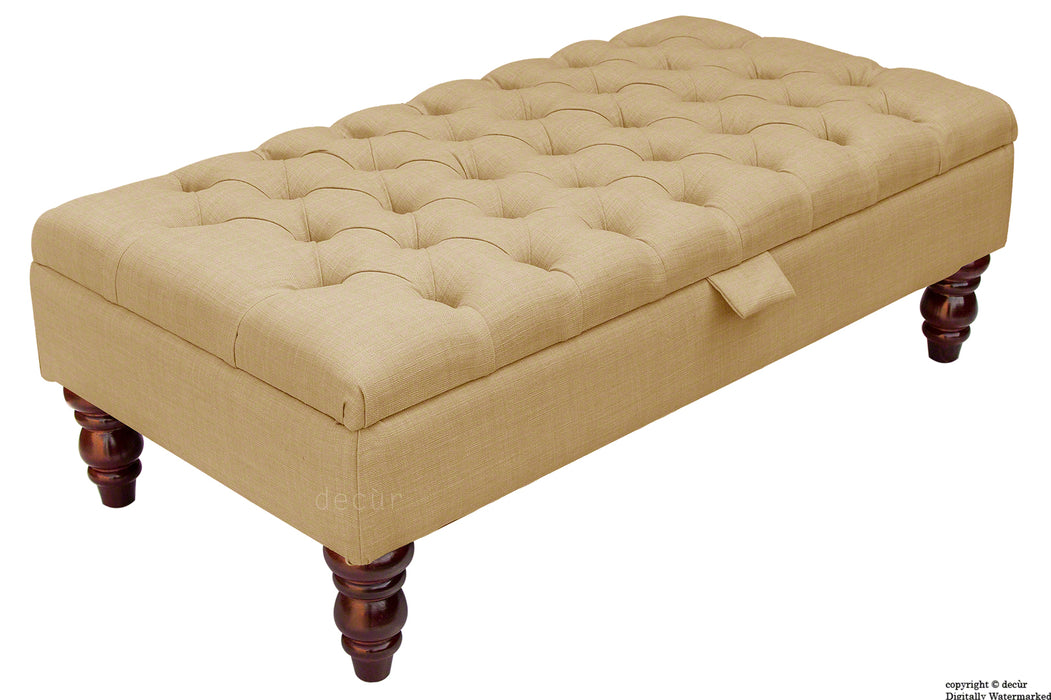 Tiffany Buttoned Linen Footstool - Honey with Optional Storage