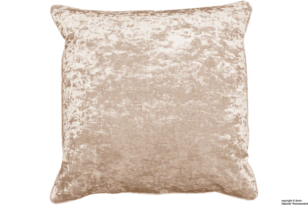 Serenity Crushed Velvet Cushion - Vanilla