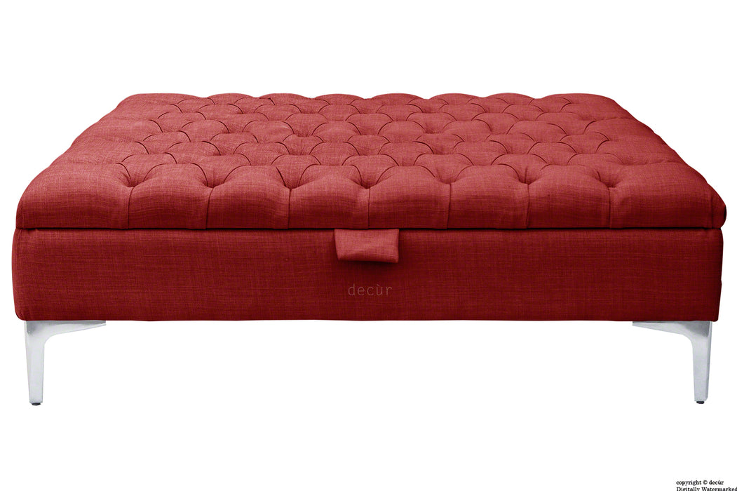 Tiffany Modern Buttoned Linen Footstool Large - Wine with Optional Storage
