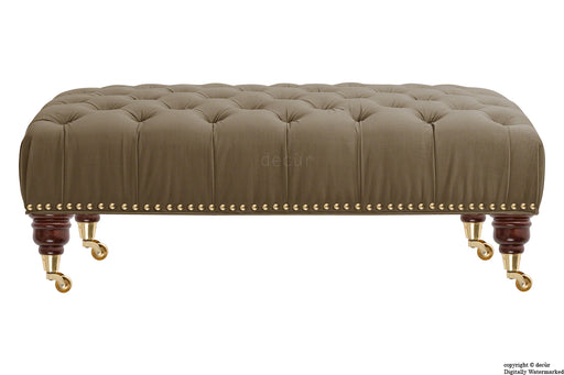 Catherine Buttoned Velvet Footstool - Taupe with Optional Storage