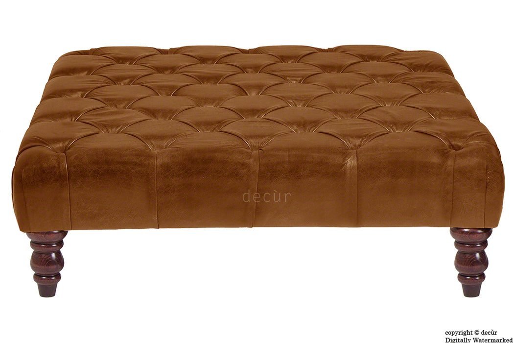 Cecil Buttoned Leather Footstool - Tan