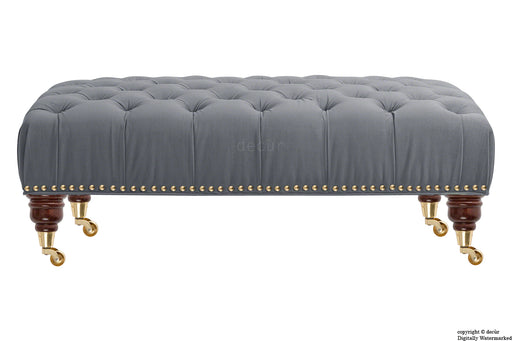 Catherine Buttoned Velvet Footstool - Flint with Optional Storage
