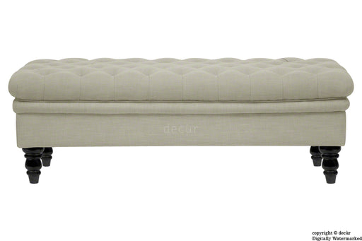 Amy Buttoned Linen Modern Tufted Footstool - Mink