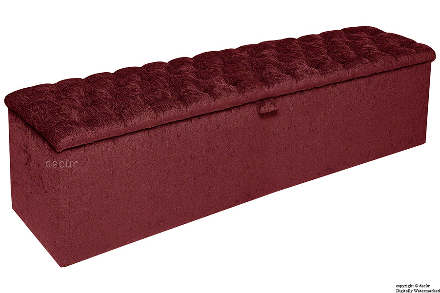 Viscount Chesterfield Chenille Ottoman - Ruby Red