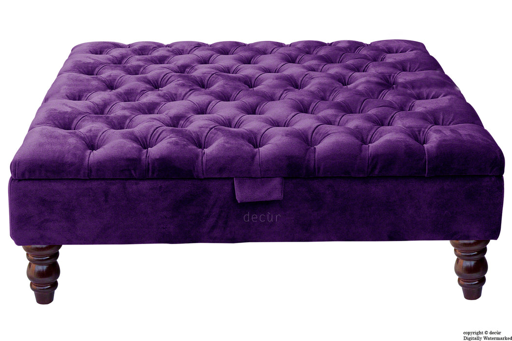 Tiffany Buttoned Velvet Footstool Large - Amethyst with Optional Storage