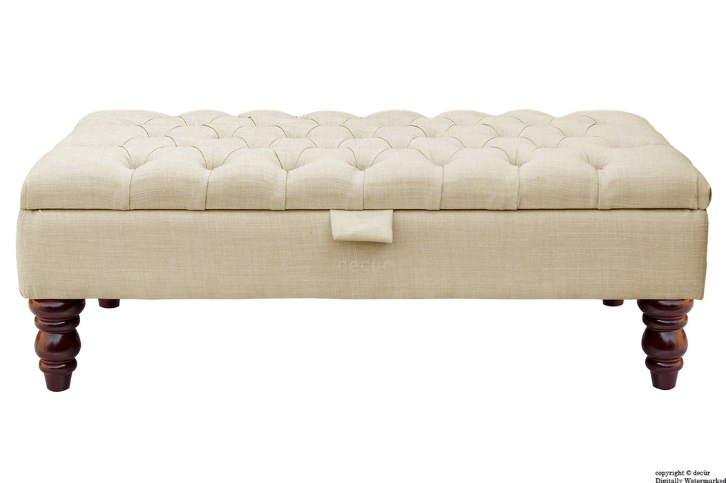 Tiffany Buttoned Linen Footstool - Cream with Optional Storage