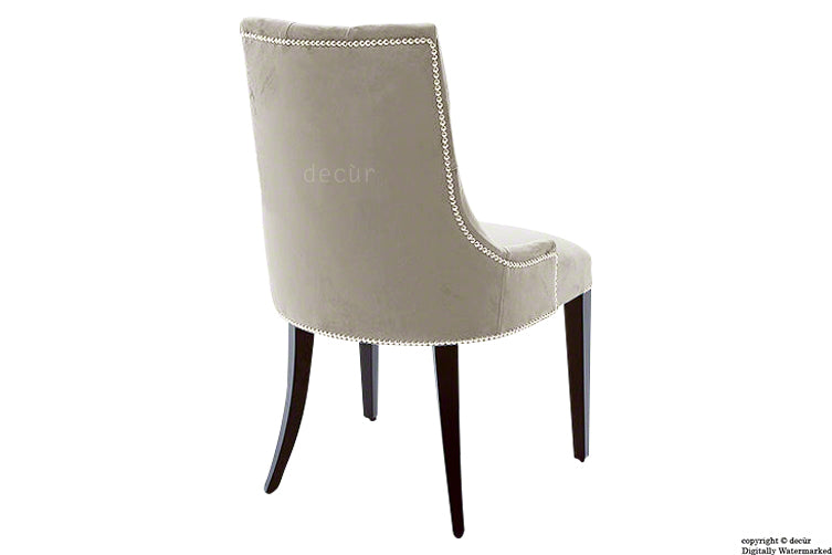 Magdalin Deep Buttoned Velvet Dining Chair  - Putty