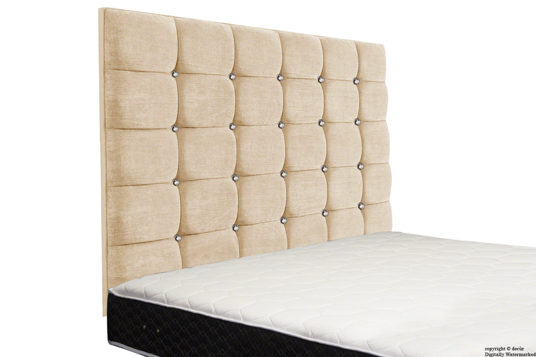 Grace Mila High Buttoned Wall Headboard - Natural Champagne