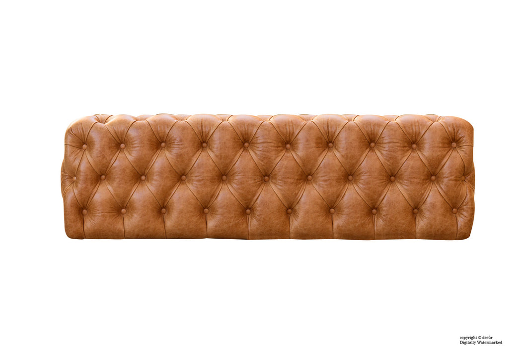 Oliver Buttoned Leather Ottoman - Tan