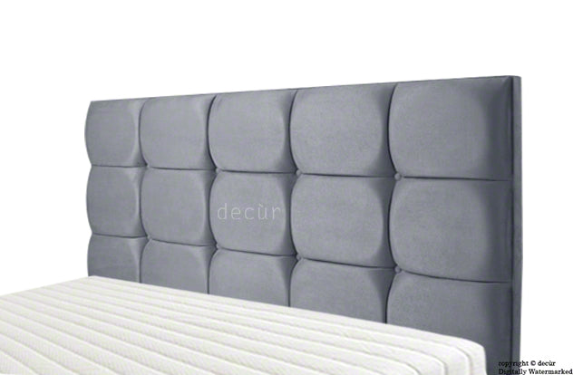 Grace Mila Velvet Buttoned Headboard - Flint