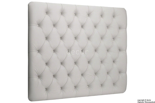 Jot Buttoned Contemporary Wall High Headboard - White