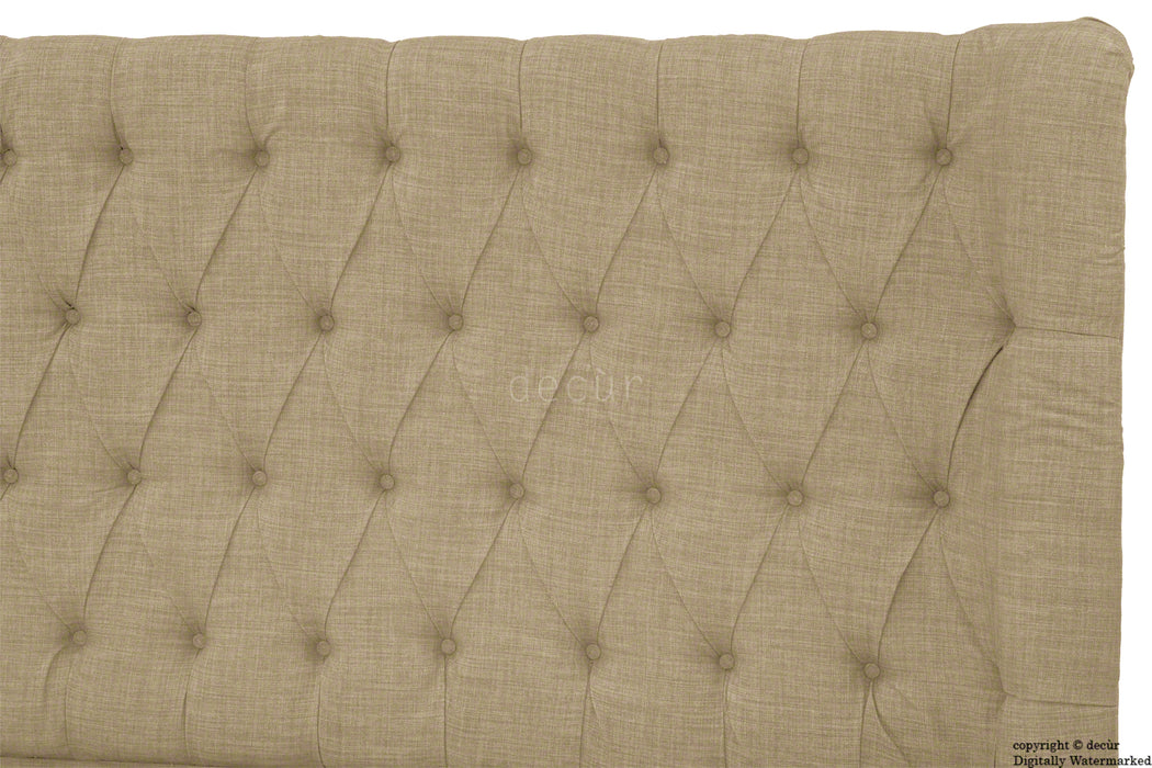 Hollyrood Linen Upholstered Winged Ottoman Bed - Fudge