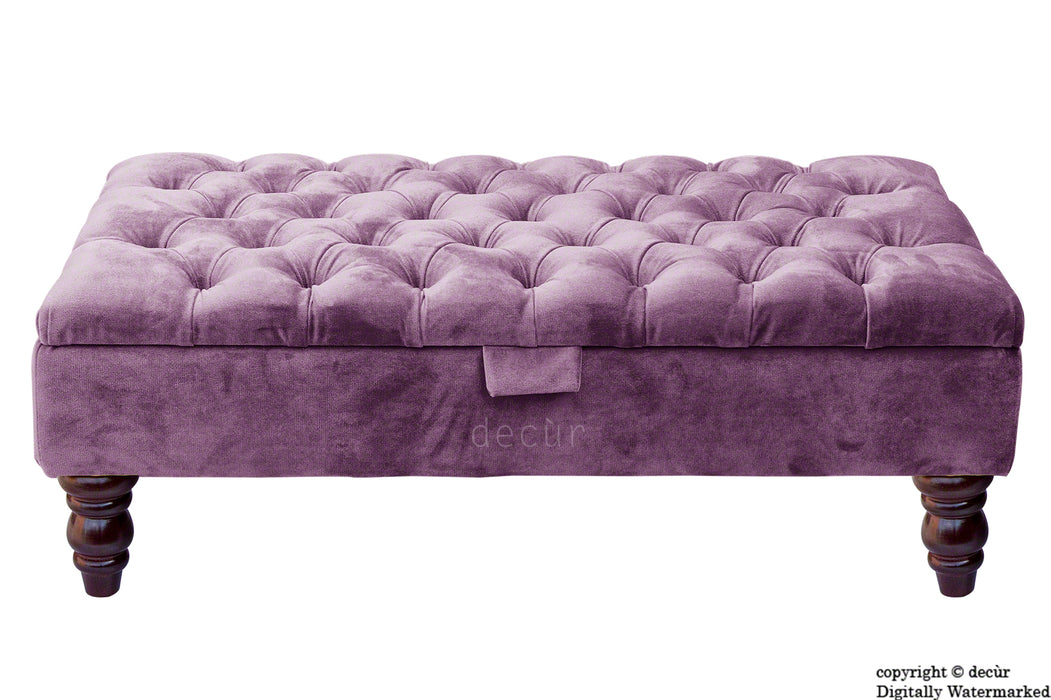 Tiffany Buttoned Velvet Footstool - Lavender with Optional Storage