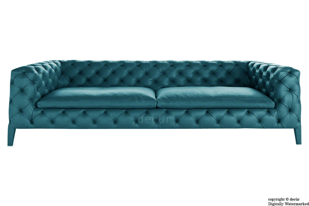 Rochester Leather Chesterfield Sofa - Dark Teal