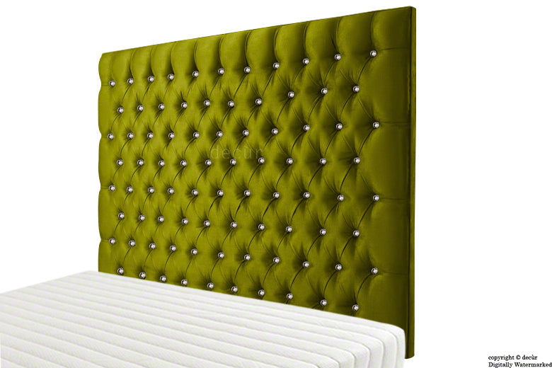 Tiffany Harrogate Buttoned Wall High Velvet Headboard - Grass