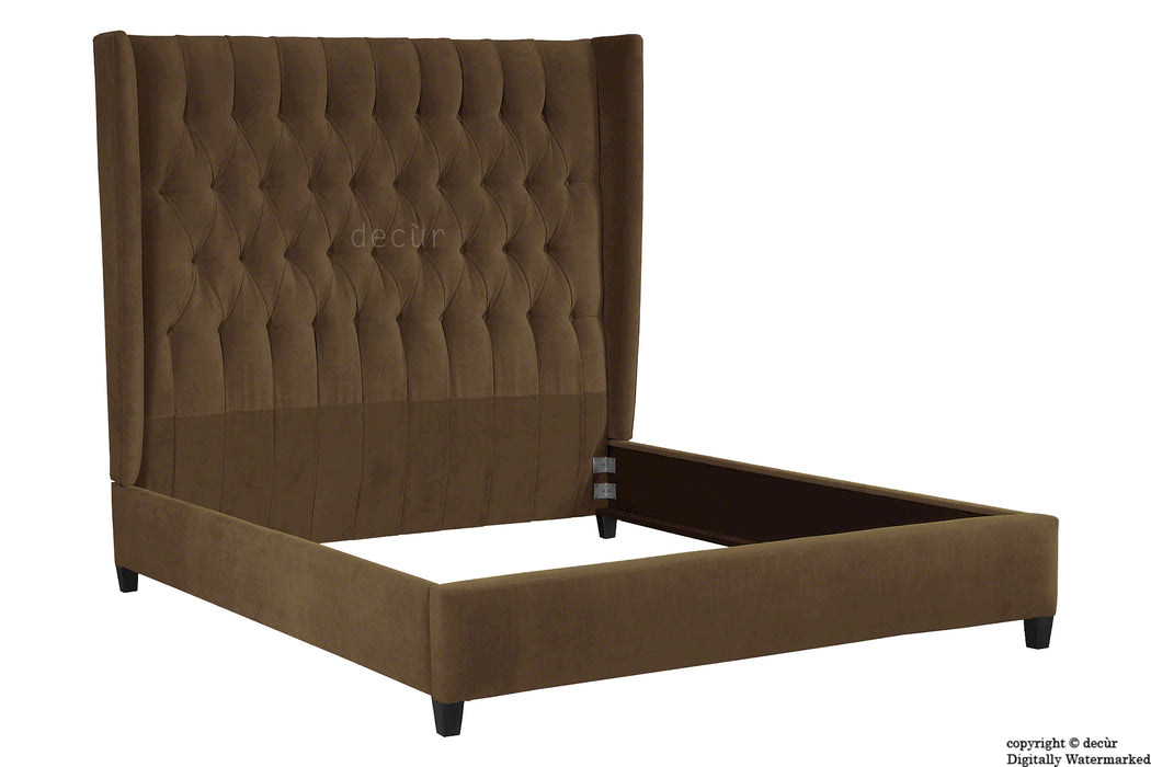 Adlington Velvet Upholstered Winged Bed - Mushroom