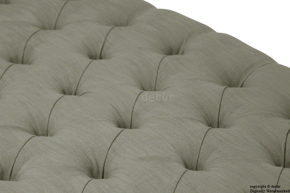 Raveen Buttoned Linen Modern Footstool - Fudge