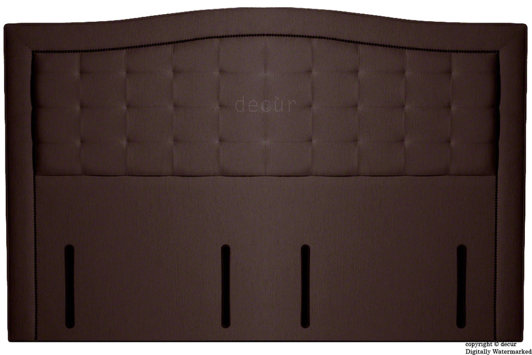 Paris Buttoned Chenille Headboard - Chocolate