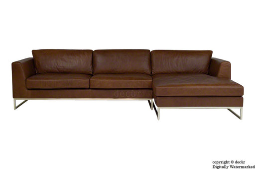 Penthouse Leather Corner Sofa - Chocolate