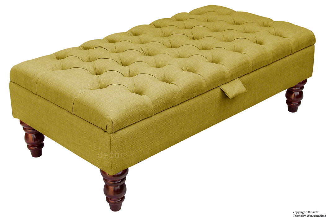 Tiffany Buttoned Linen Footstool - Olive with Optional Storage