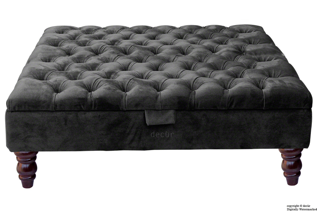 Tiffany Buttoned Velvet Footstool Large - Cosmic Black with Optional Storage