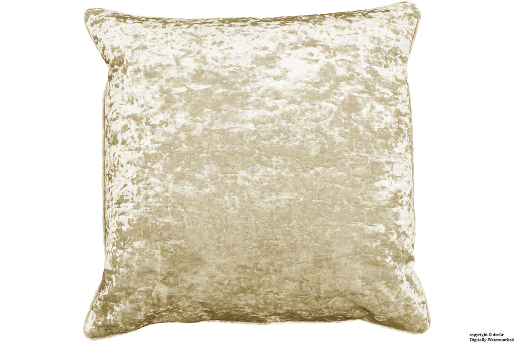 Serenity Crushed Velvet Cushion - Buttermilk