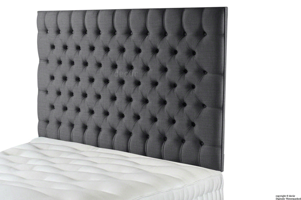Tiffany Harrogate Buttoned Wall High Linen Headboard - Charcoal