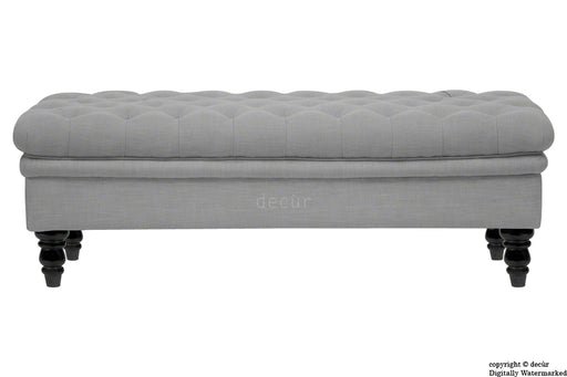 Amy Buttoned Linen Modern Tufted Footstool - Grey