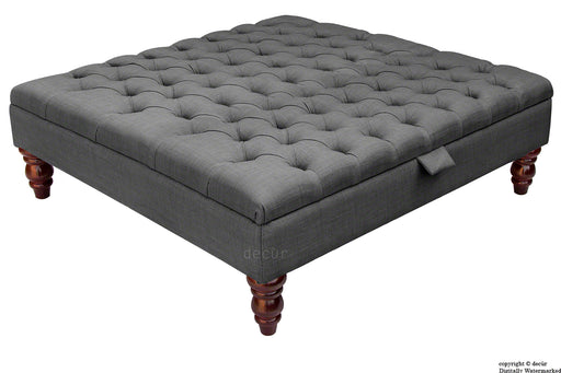 Bespoke Tiffany Buttoned Linen Footstool Large - Charcoal with  Storage