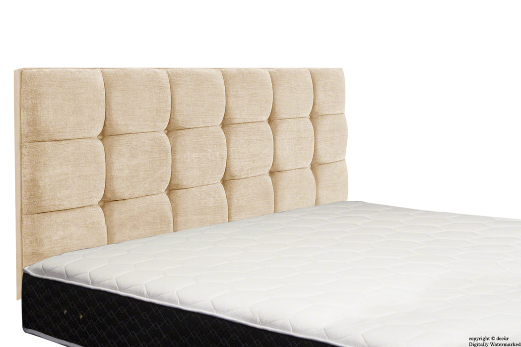 Grace Mila Buttoned 3 Tier Headboard - Natural Champagne