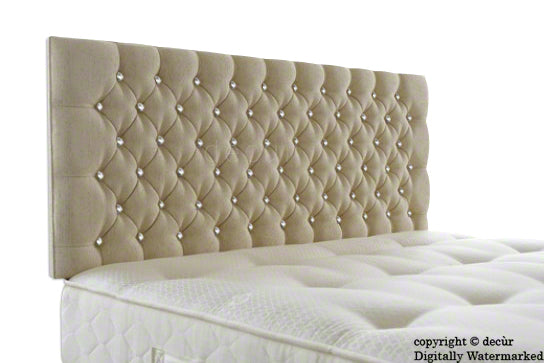 Tiffany Harrogate Buttoned Chenille Headboard - Natural