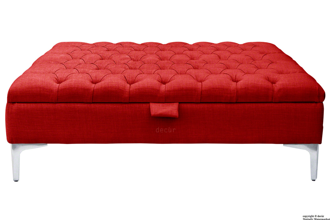 Tiffany Modern Buttoned Linen Footstool Large - Ruby with Optional Storage