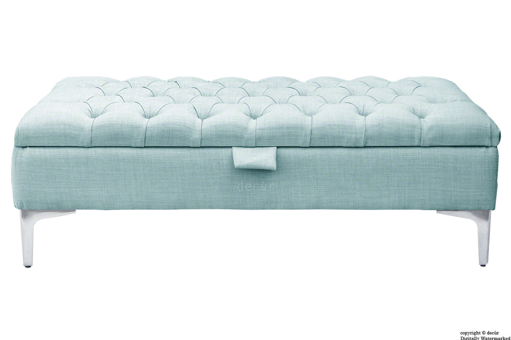 Tiffany Modern Buttoned Linen Footstool - Sky Duck Egg Blue with Optional Storage