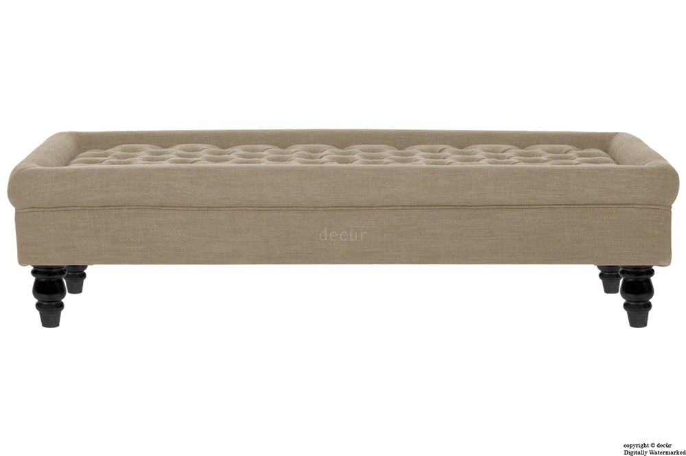 Cavendish Buttoned Linen Footstool - Sand