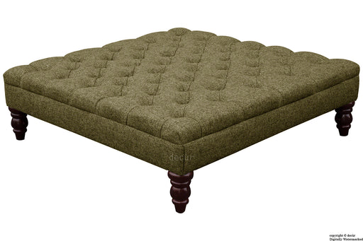 Harris Tweed Buttoned Herringbone Footstool - Mountain Braken