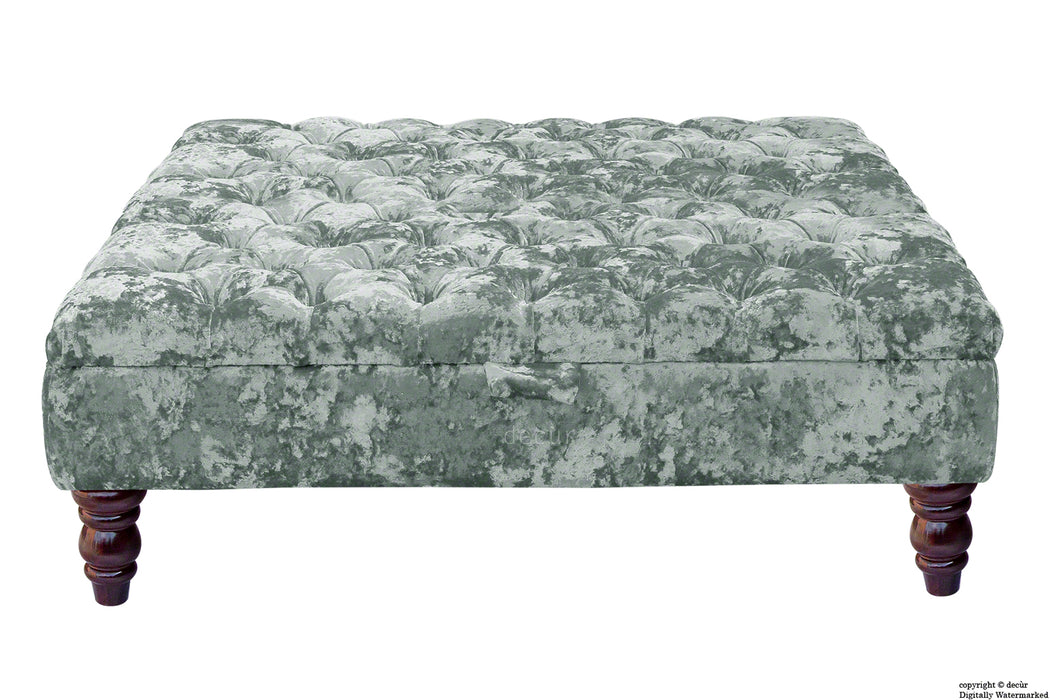 Tiffany Buttoned Crushed Velvet Footstool Large - Argent with Optional Storage