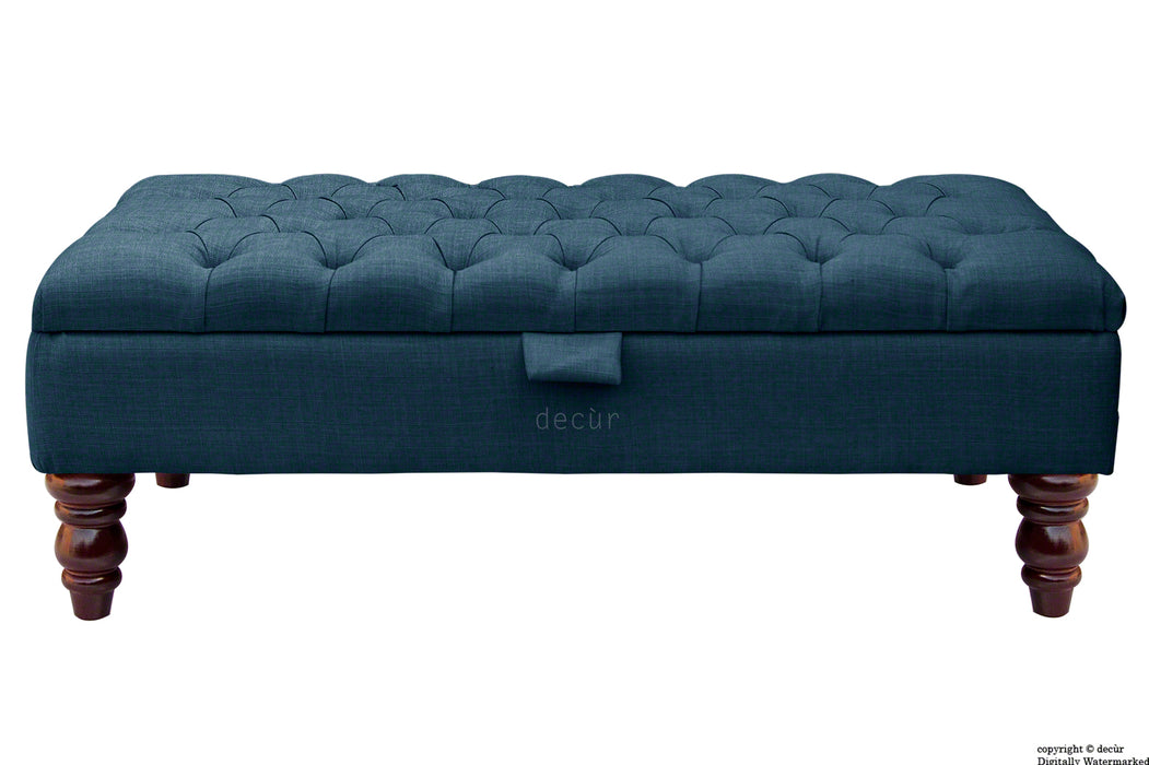 Tiffany Buttoned Linen Footstool - Midnight with Optional Storage