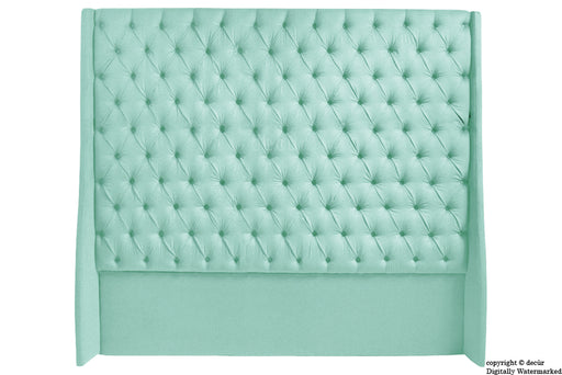 Abbingdon Buttoned Winged Velvet Headboard - Seaspray
