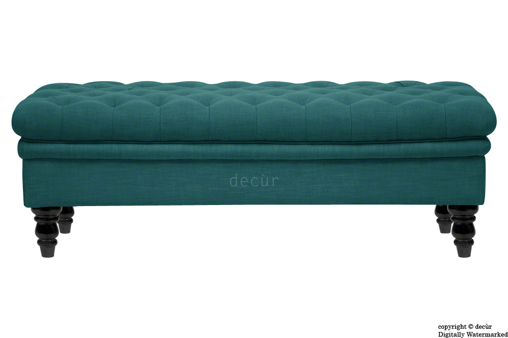 Amy Buttoned Linen Modern Tufted Footstool - Teal