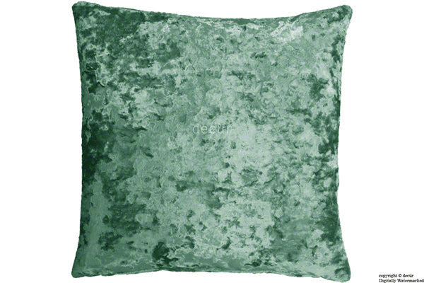 London Crushed Velvet Cushion - Aqua