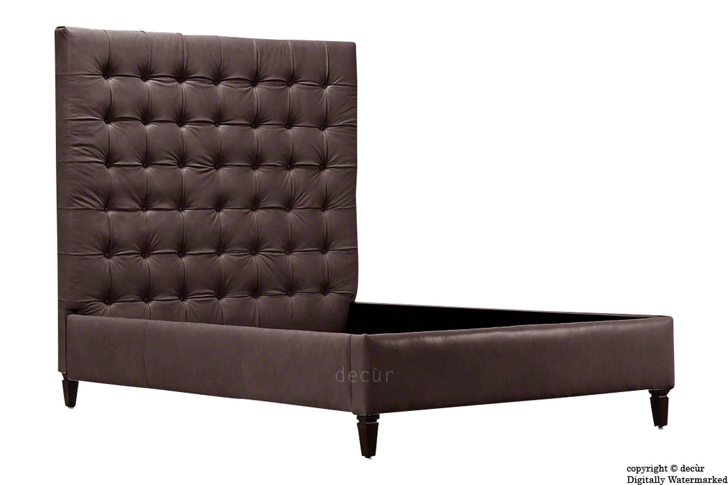 Grace Upholstered Leather Bed - Espresso (Faux Leather Options)
