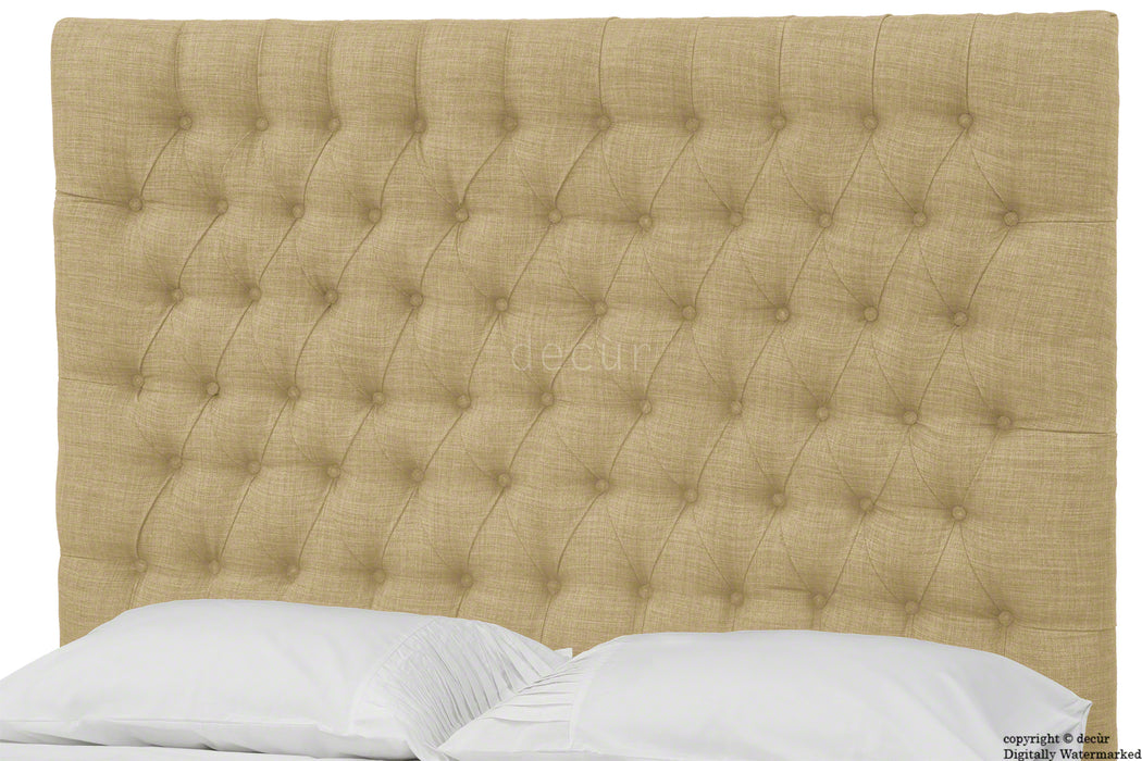 Kensington Buttoned Linen Headboard - Honey