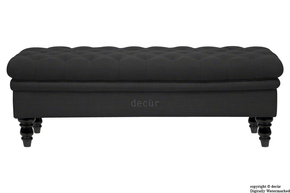 Amy Buttoned Linen Modern Tufted Footstool - Ebony