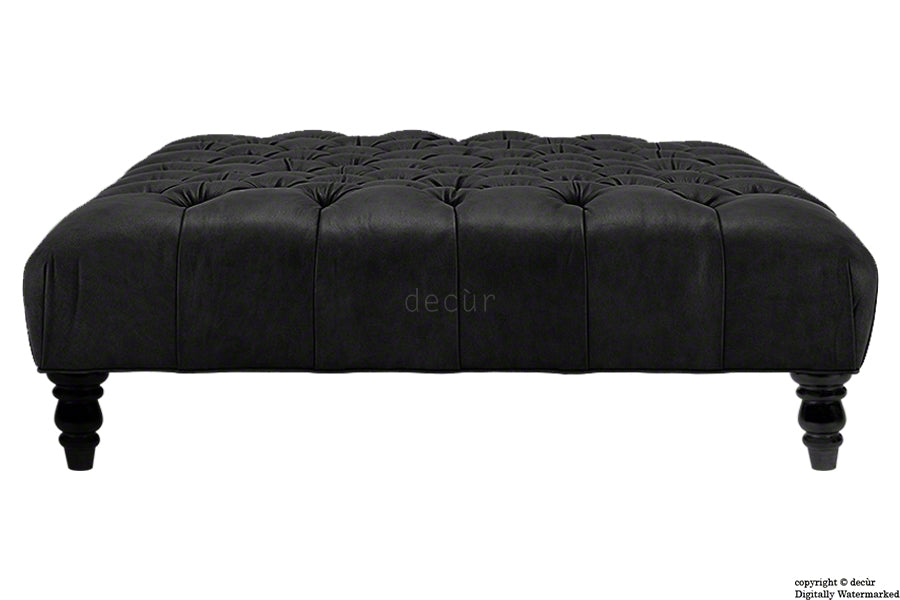 Tiffany Buttoned Faux Leather Footstool - Black with Storage Option