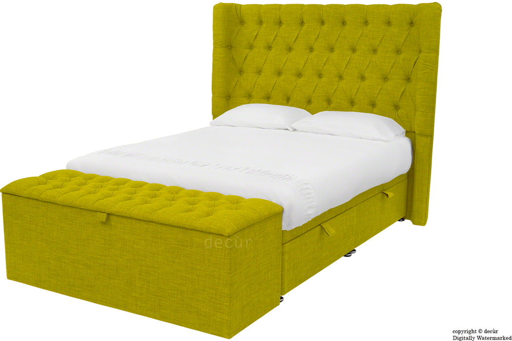 Hollyrood Linen Upholstered Winged Ottoman Bed - Olive