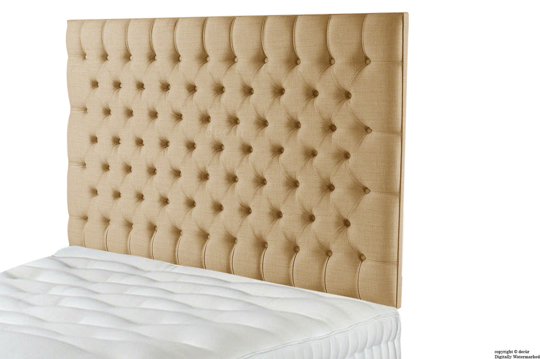 Tiffany Harrogate Buttoned Wall High Linen Headboard - Honey