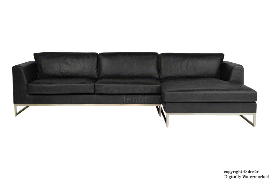 Penthouse Leather Corner Sofa - Black